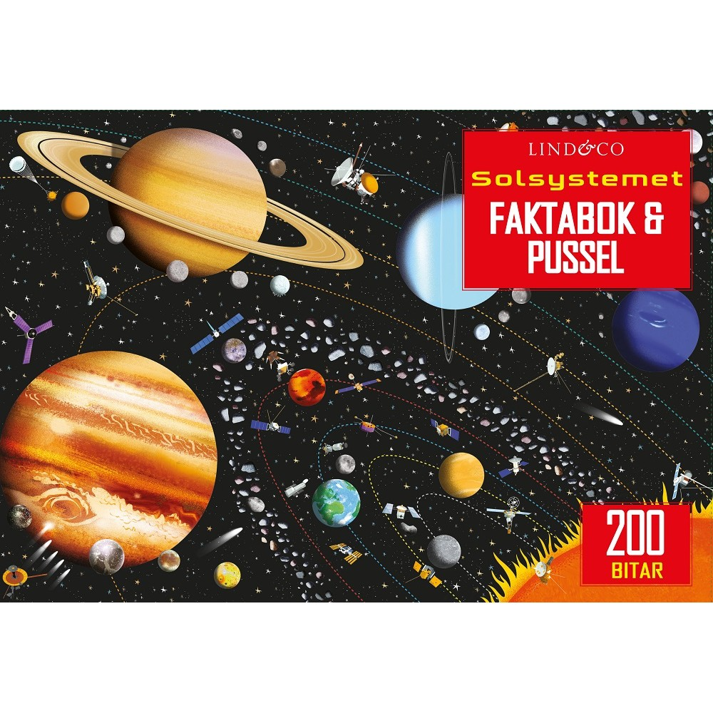 Solsystemet Faktabok och Pussel 200 bitar
