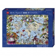 Pussel 2000 bitar Quirky World Map