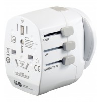 Adapter Europe to Worldwide med USB