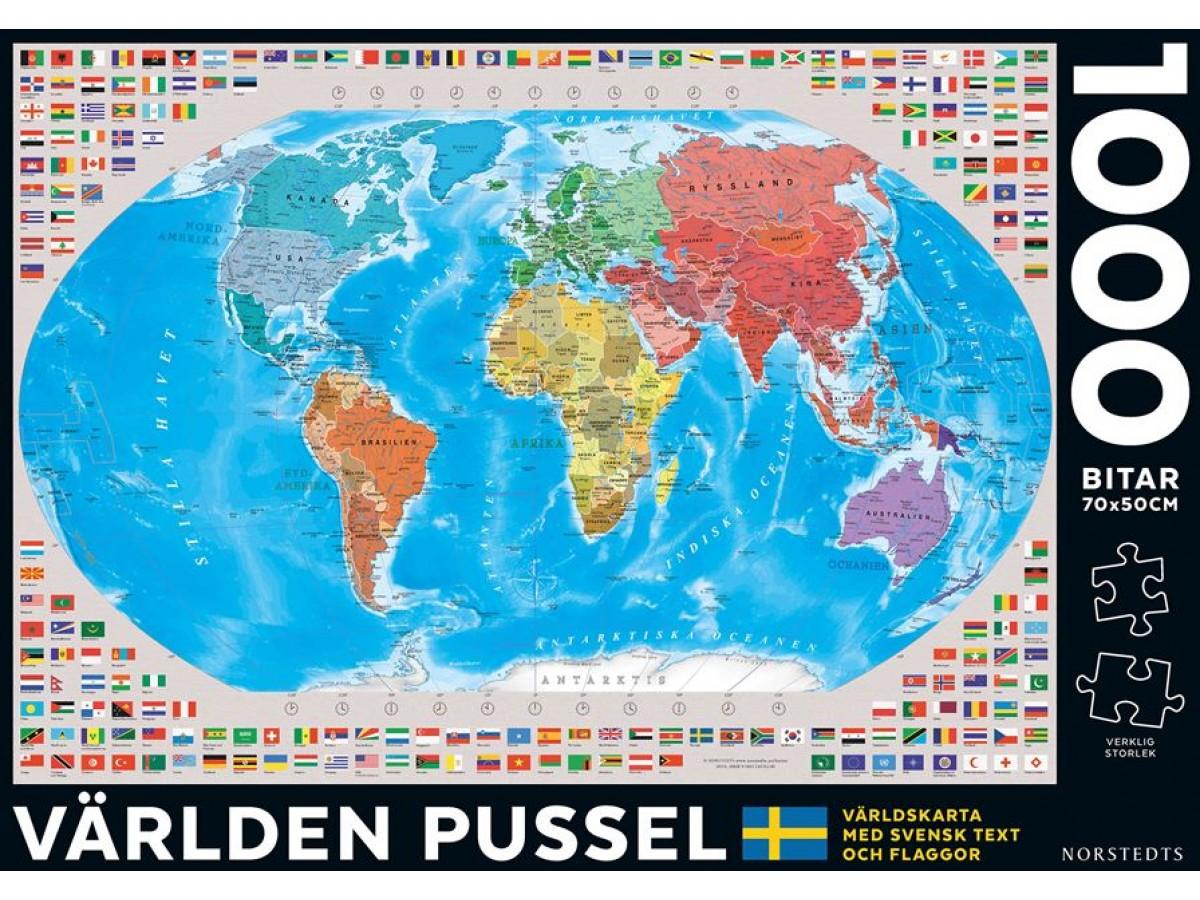 pussel karta Köp Världen Pussel 1000 bitar med snabb leverans   Kartbutiken.se pussel karta