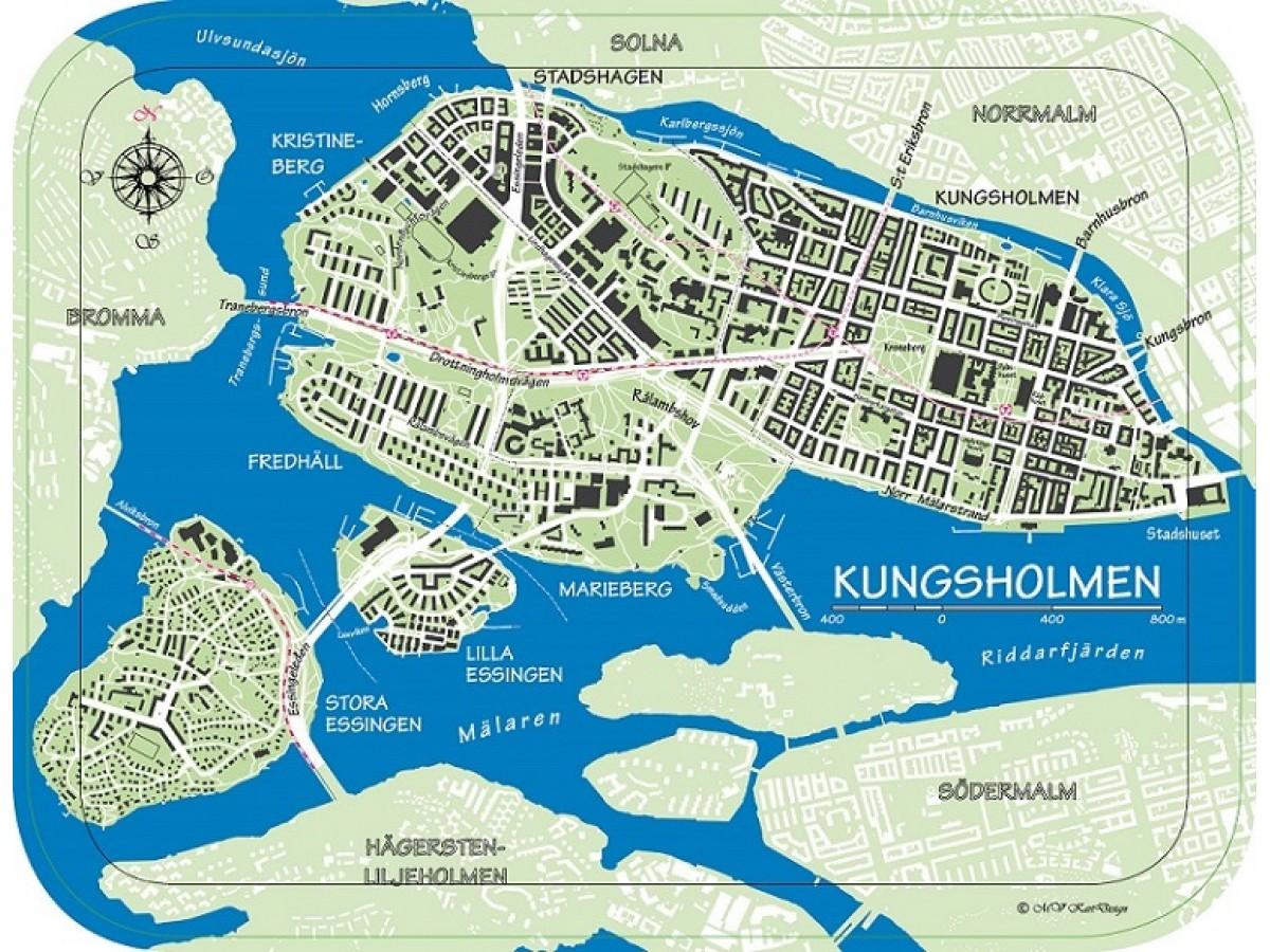 kungsholmen karta Köp Bricka Kungsholmen färg med snabb leverans   Kartbutiken.se kungsholmen karta