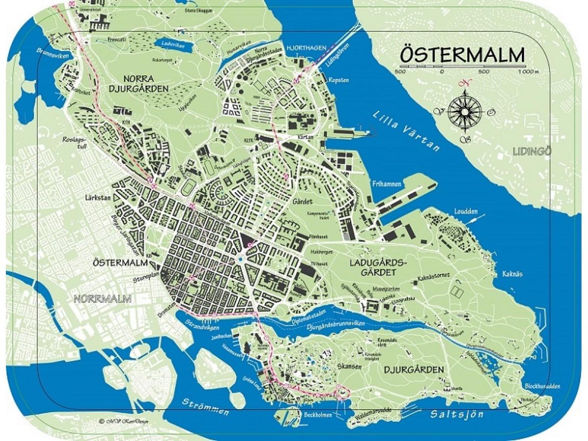 karta östermalm Köp Bricka Östermalm färg med snabb leverans   Kartbutiken.se karta östermalm