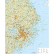 Stockholms Län väggkarta 1:150 000, 100x139cm
