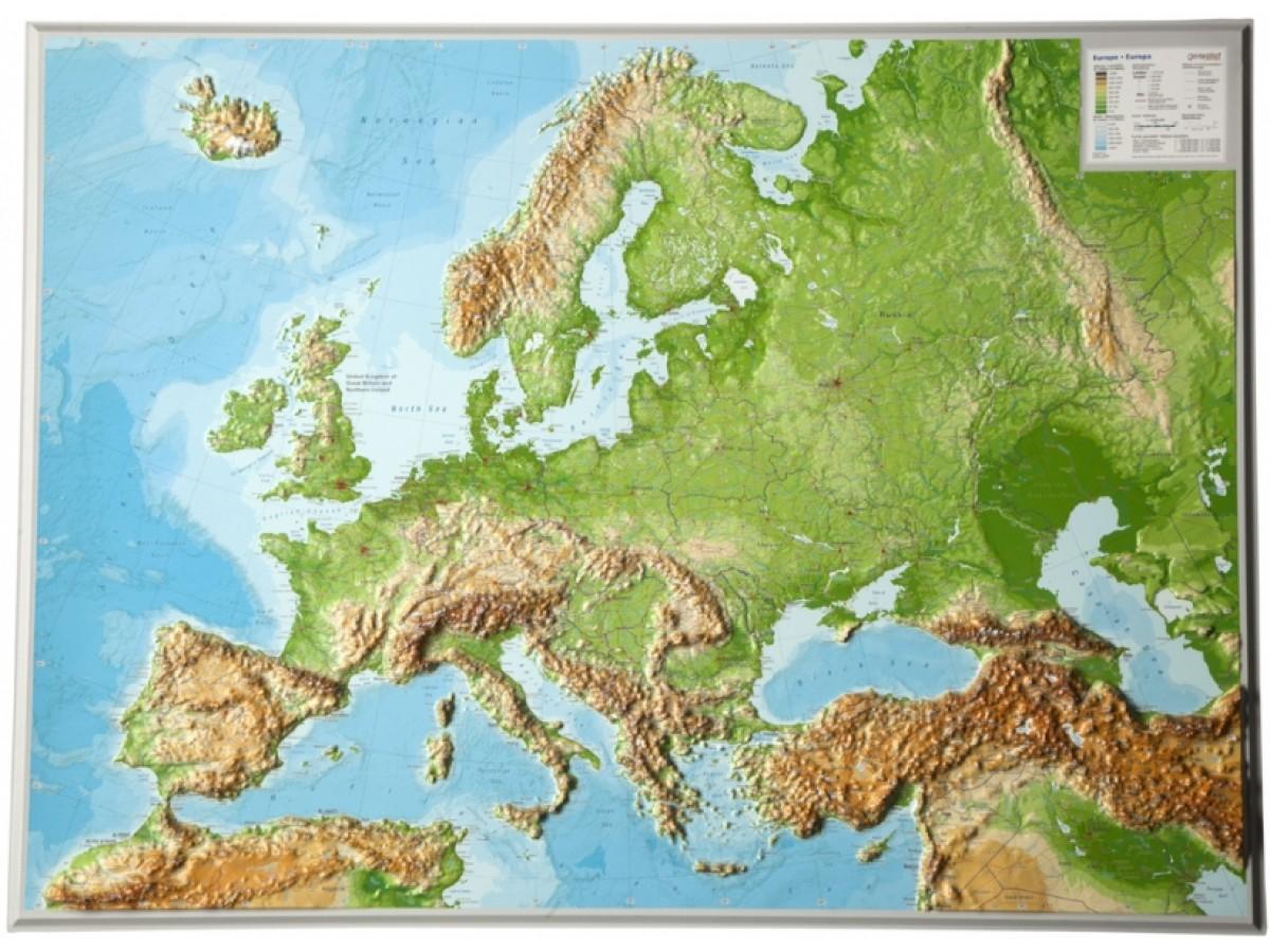 topografisk karta europa Köp Europa Relief 77x57cm med snabb leverans   Kartbutiken.se topografisk karta europa