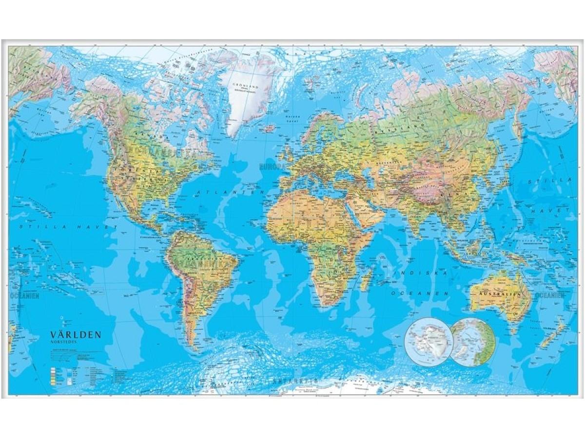 Världen Norstedts Fysisk 1:30 milj 136x84cm
