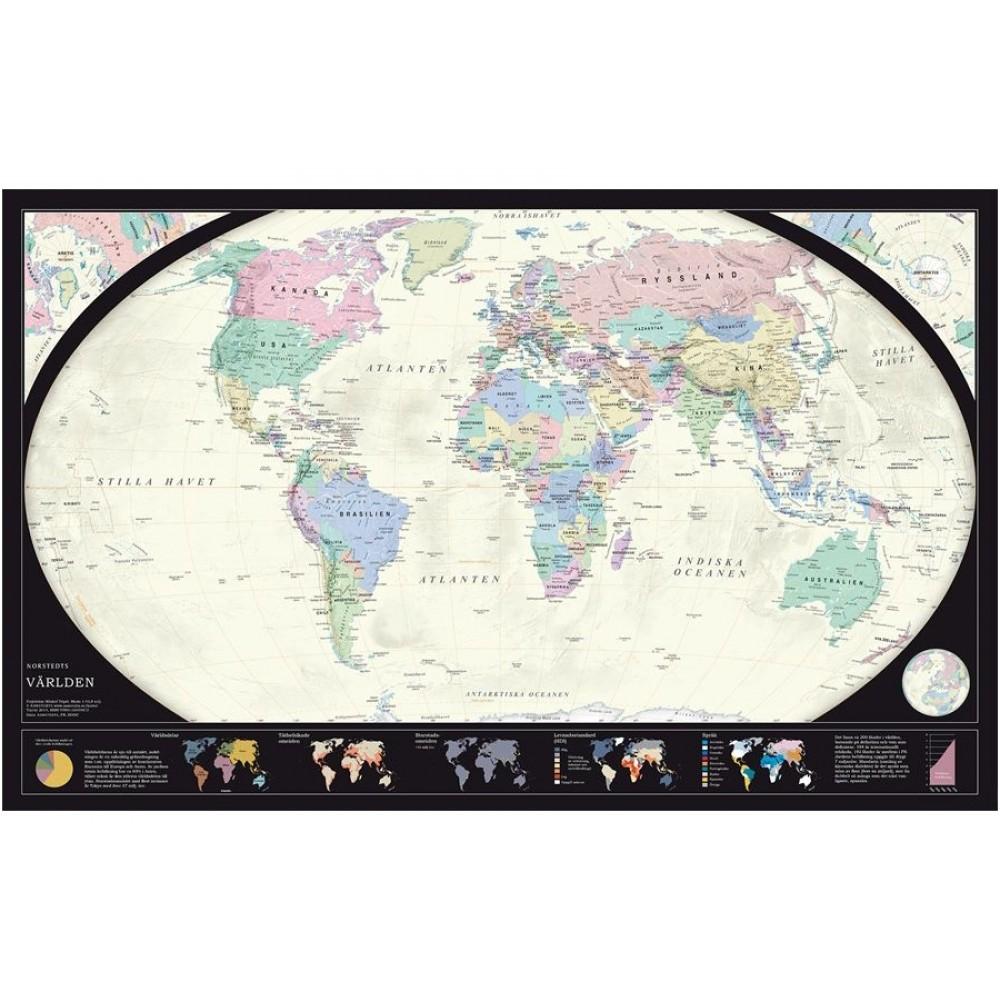 Världen Norstedts 1:43,8 Politisk 78x49cm med ram