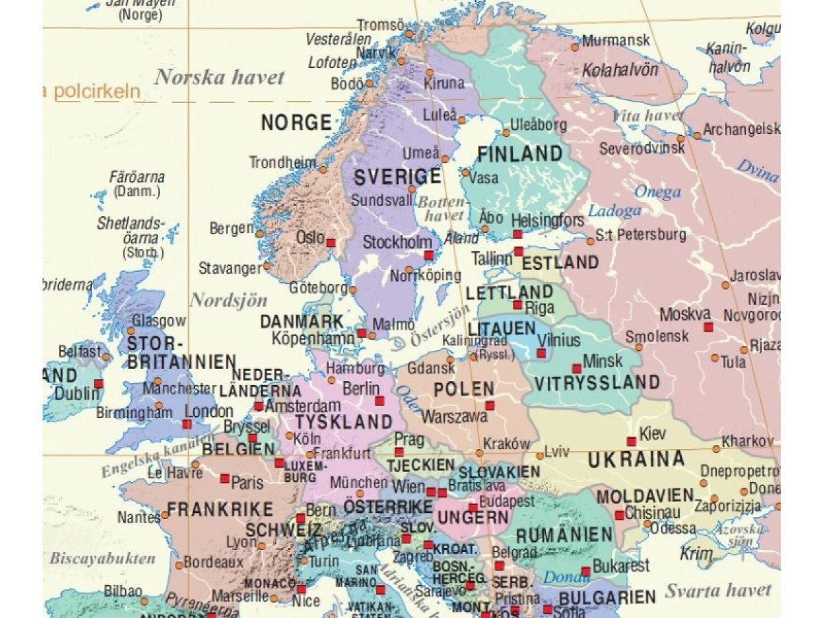 Karta Varlden Europa.Europa Karta Svenska