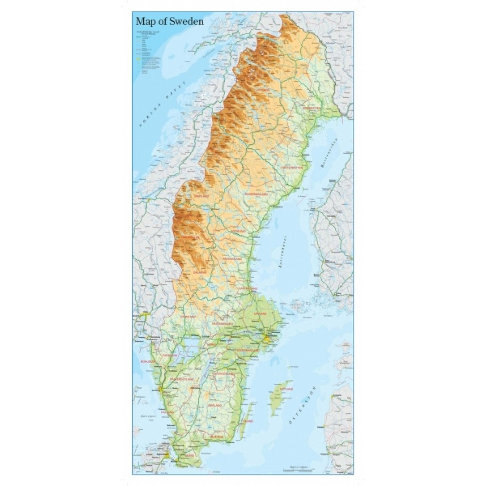 Map of Sweden 46x94cm