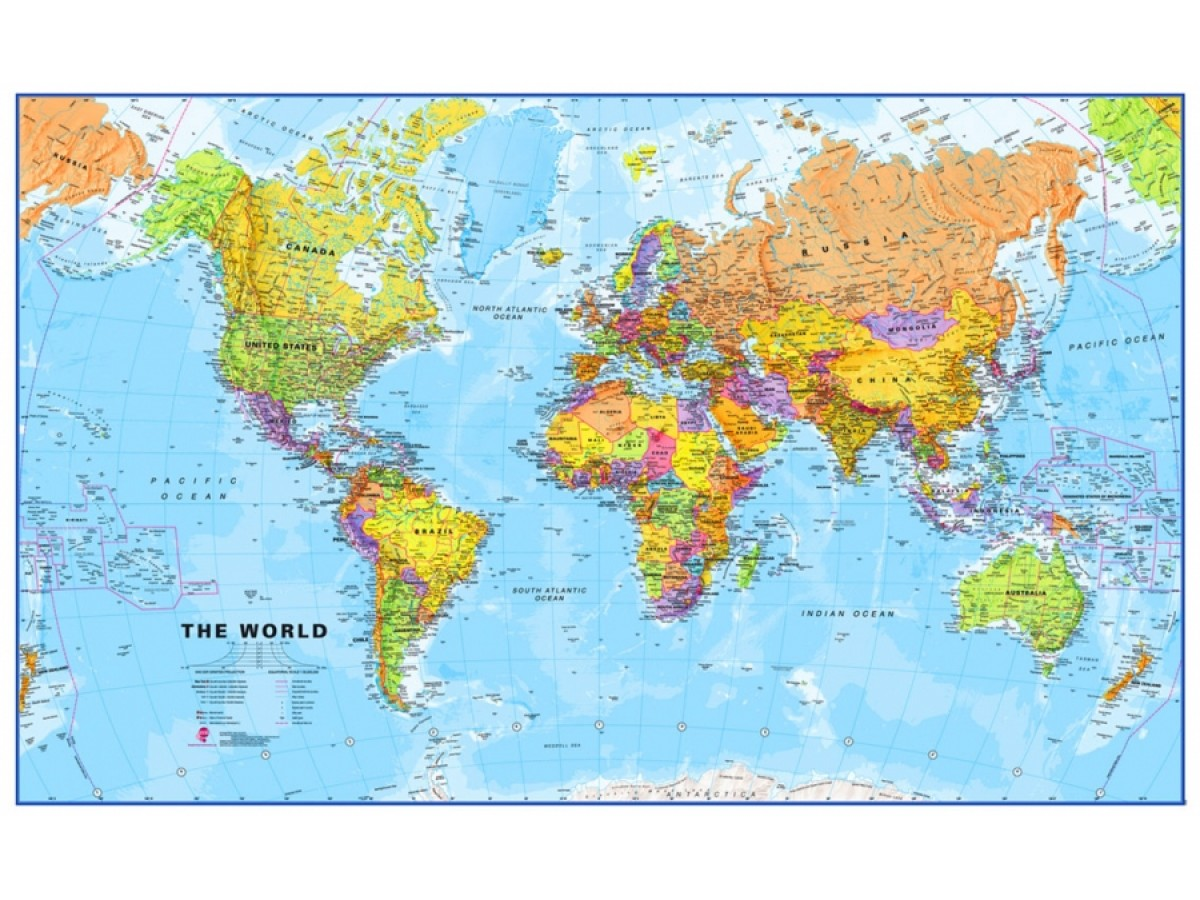 Karta Varlden Europa.Kop Varlden Mapsint 1 20milj Pol 199x123cm Med Snabb Leverans