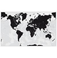 World Map Black and White 136x85cm