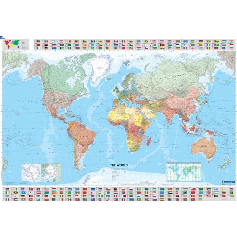 Världen Michelin 1:28,5milj POL 144x100cm med ram
