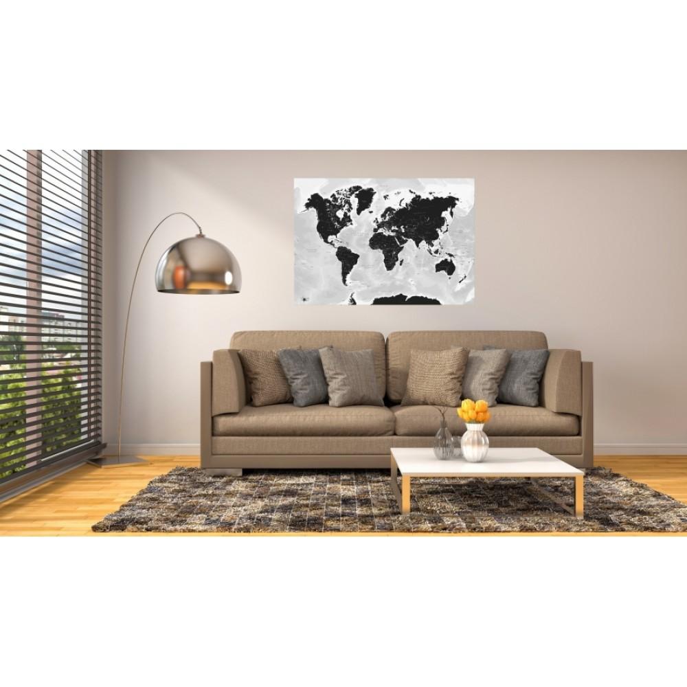 The World by Kartbutiken Black 100x70cm med ram