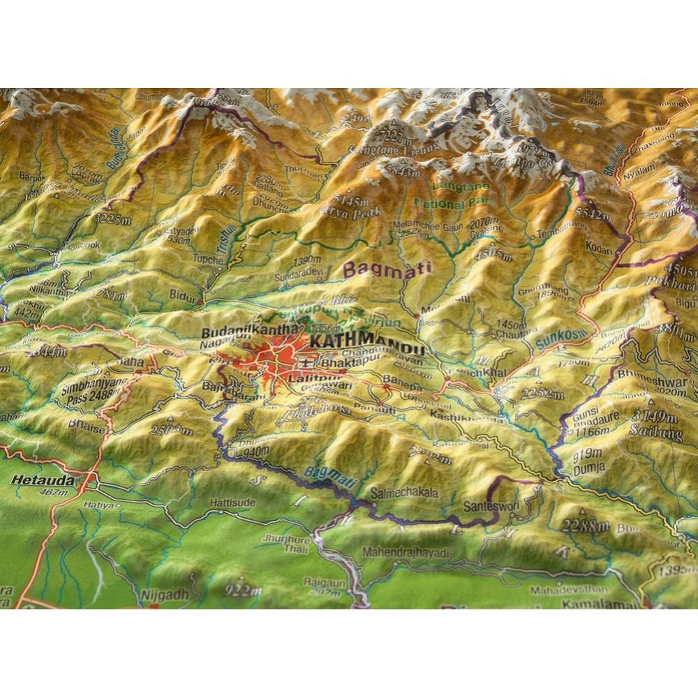 Nepal Reliefkarta 77x57cm