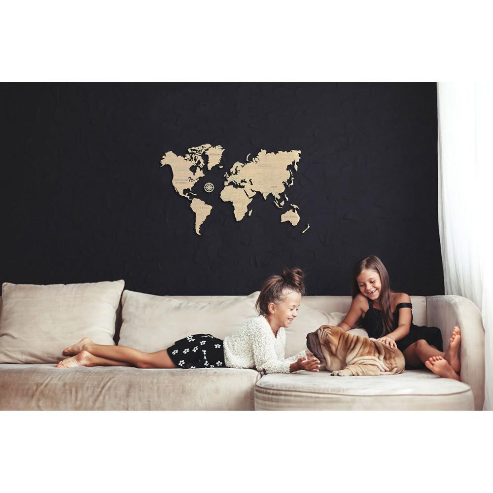 World map wood size M 57x38cm