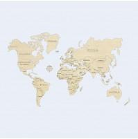World map wood size XL 120x80cm
