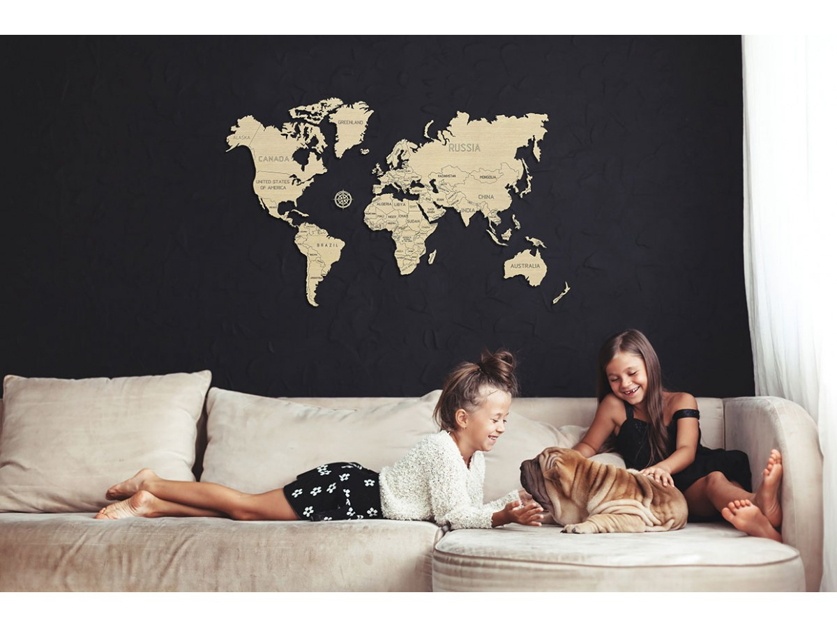 World map wood size L 83x55cm