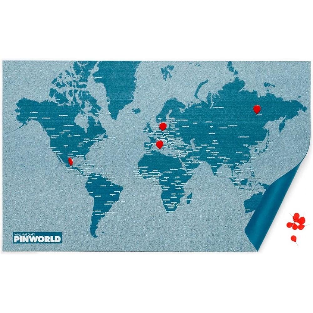 Pin World Light Blue - Världskarta på filt med nålar 124x66cm