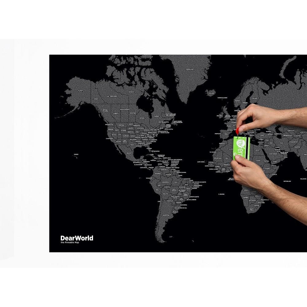 Dear World Black - Världskarta på filt med nålar 124x66cm