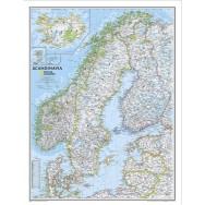 Skandinavien väggkarta NGS 60x77cm med ram