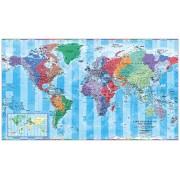 Världen Tidzoner 1:30 milj 136x80cm