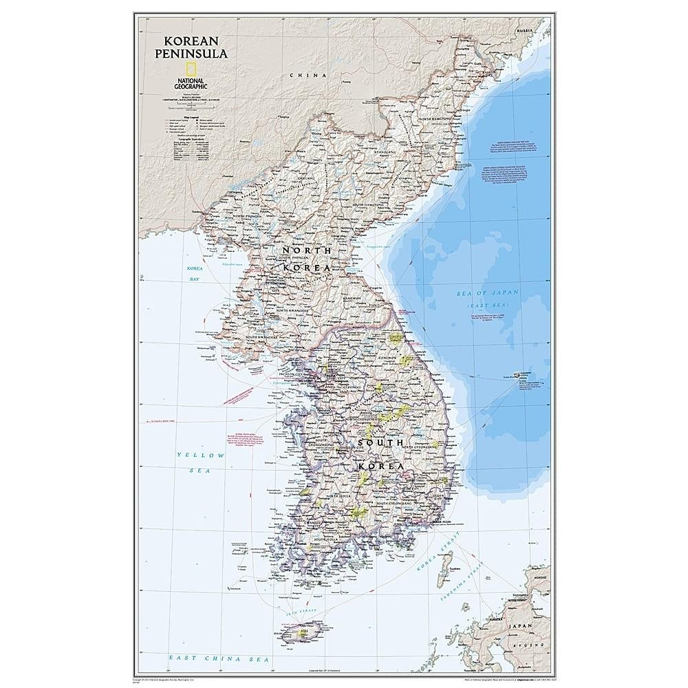 Koreahalvön Väggkarta NGS 1:1,357milj. POL