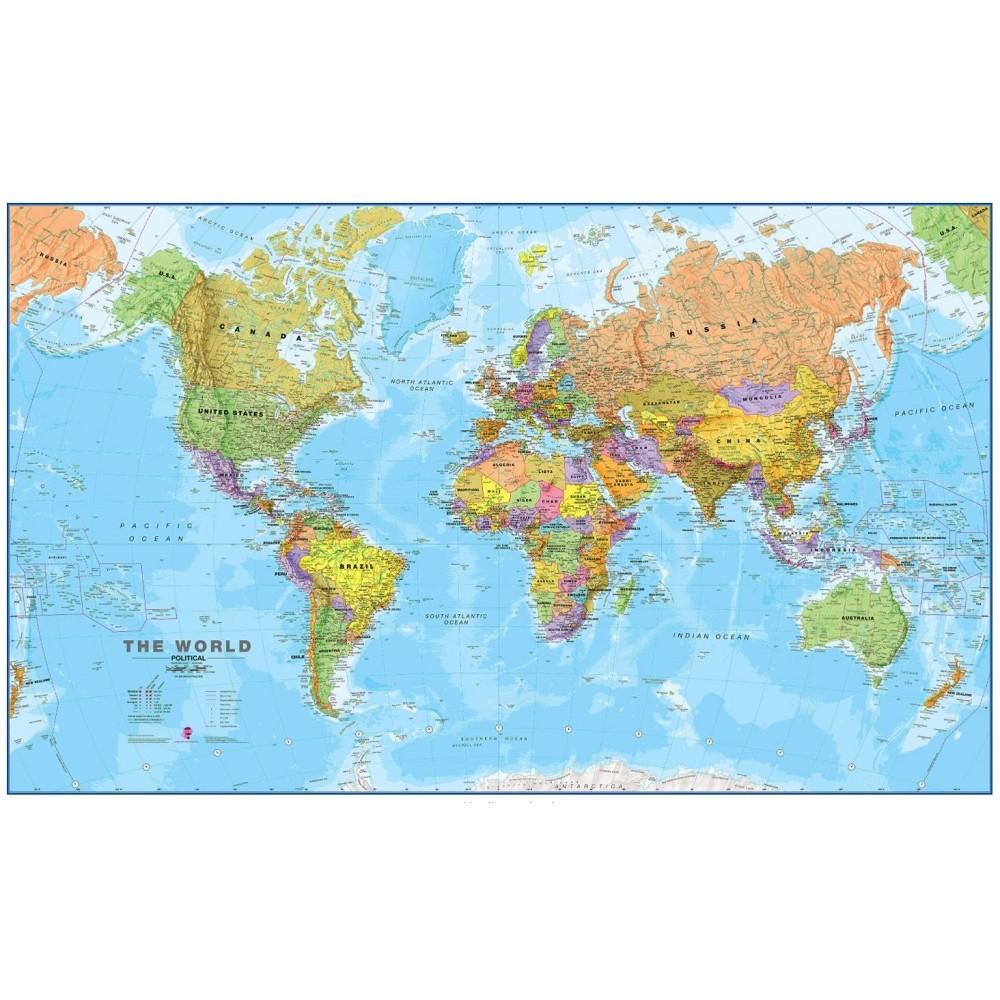 Världen MapsInt. 1:20milj (POL) 199x123cm med ram