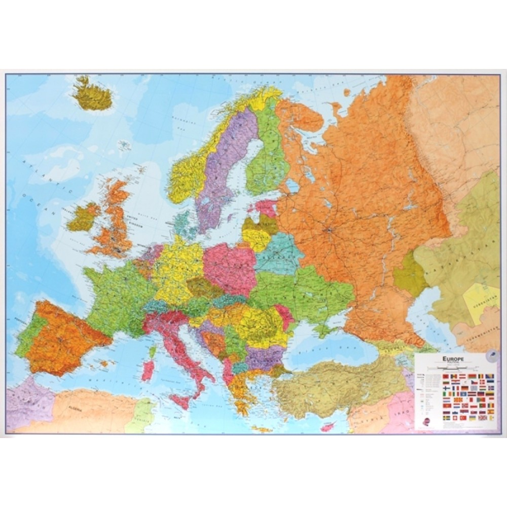 Europa väggkarta Maps International 1:4,3 milj POL 136x99cm med ram