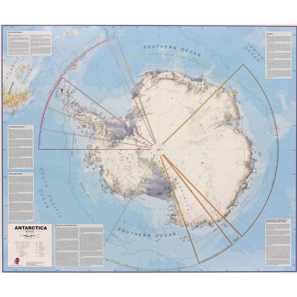 Antarktis Maps International 1:7milj POL 120x100cm