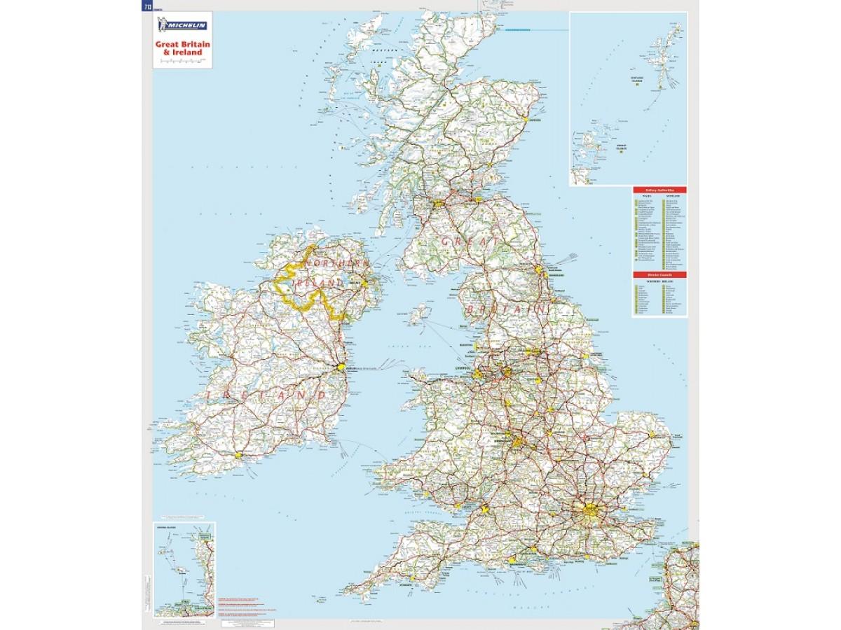 Karta Irland Storbritannien