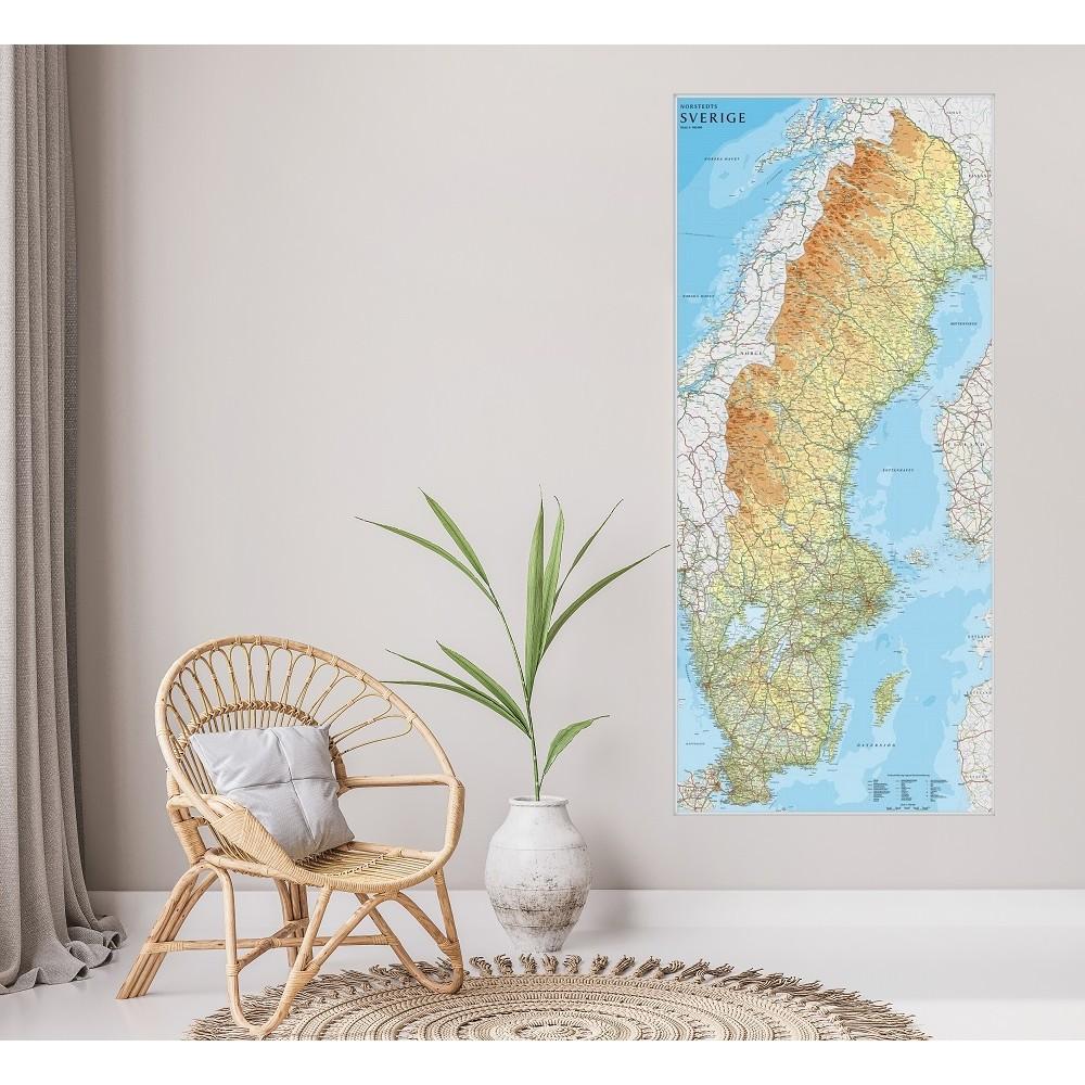 Sverige väggkarta Norstedts 1:900 000, 79x176cm