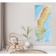 Sverige väggkarta Norstedts 1:90..