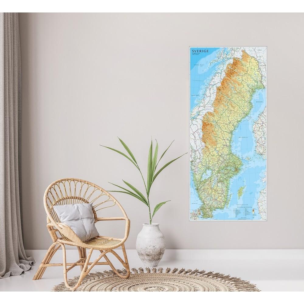 Sverige väggkarta Norstedts 1:1,3 milj 55x123cm