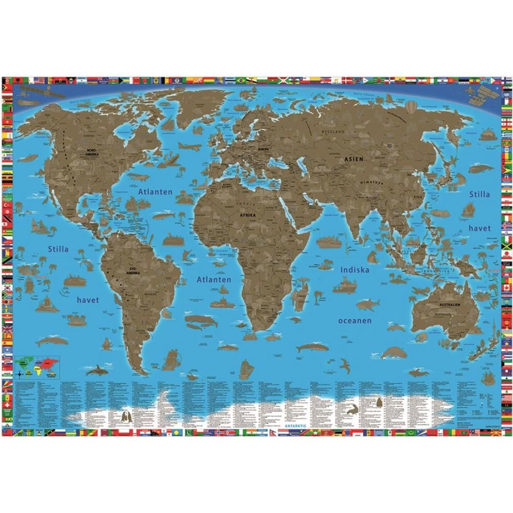 Skrapkarta Världen för barn
