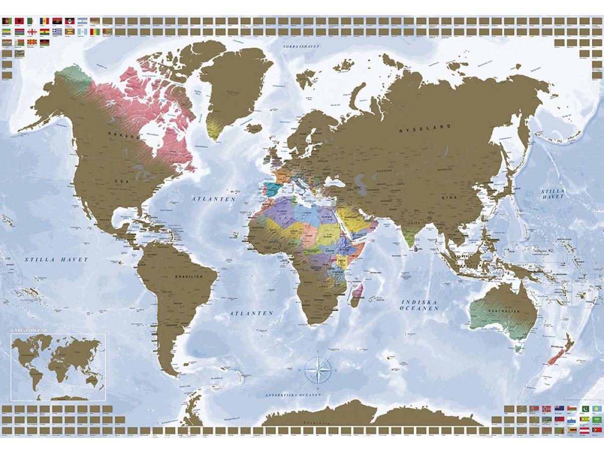 Skrapkarta Världen Guld med flaggor 100x70cm