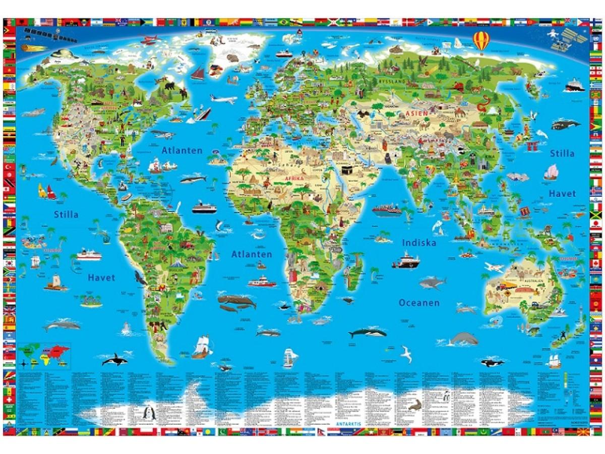 Världskarta för barn Norstedts 100x70cm