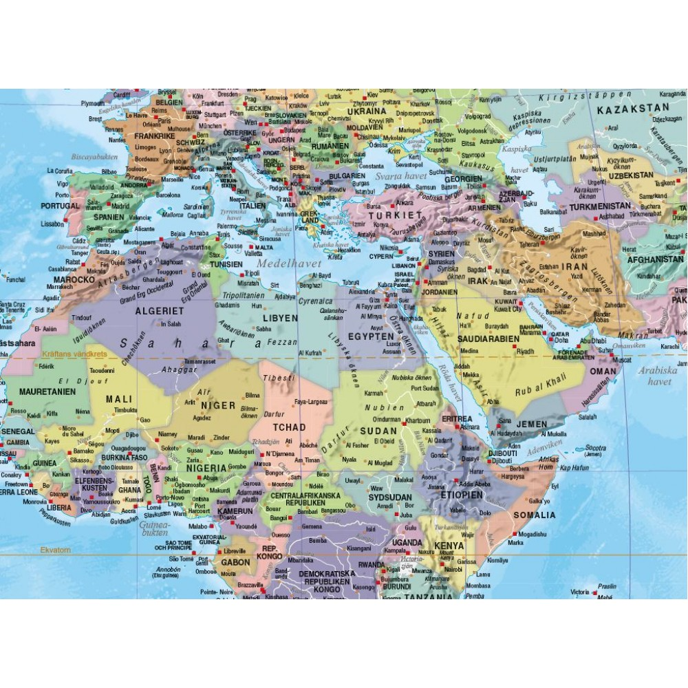 Världen Norstedts 1:41,4 milj Politisk 100x70cm med ram
