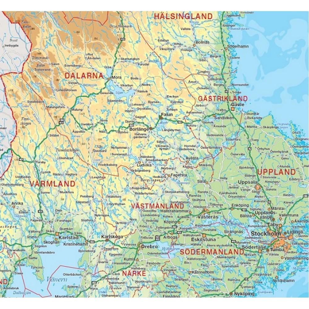 Sverige väggkarta Norstedts 1:1,6 milj 46x100cm med ram