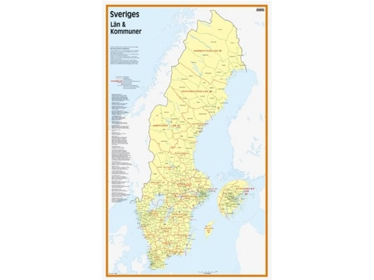 Sveriges Län och Kommuner 50x83cm
