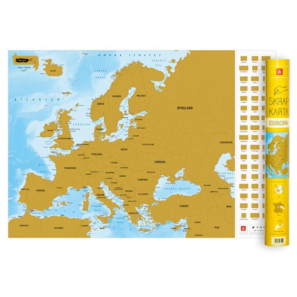 Kop Skrapkarta Europa Med Snabb Leverans Kartbutiken Se