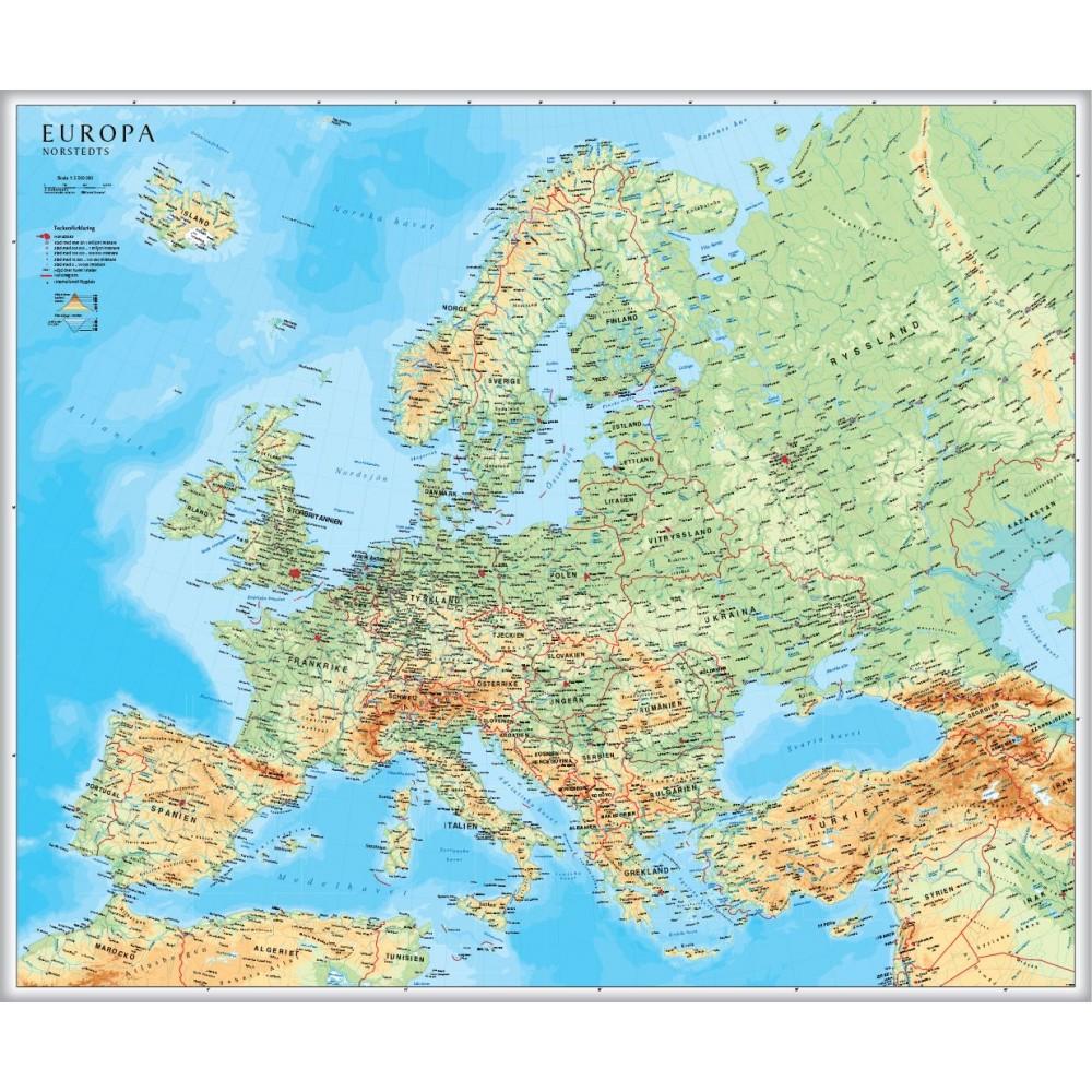 Europa väggkarta Norstedts 1:5,5 milj FYS 98x82cm med ram