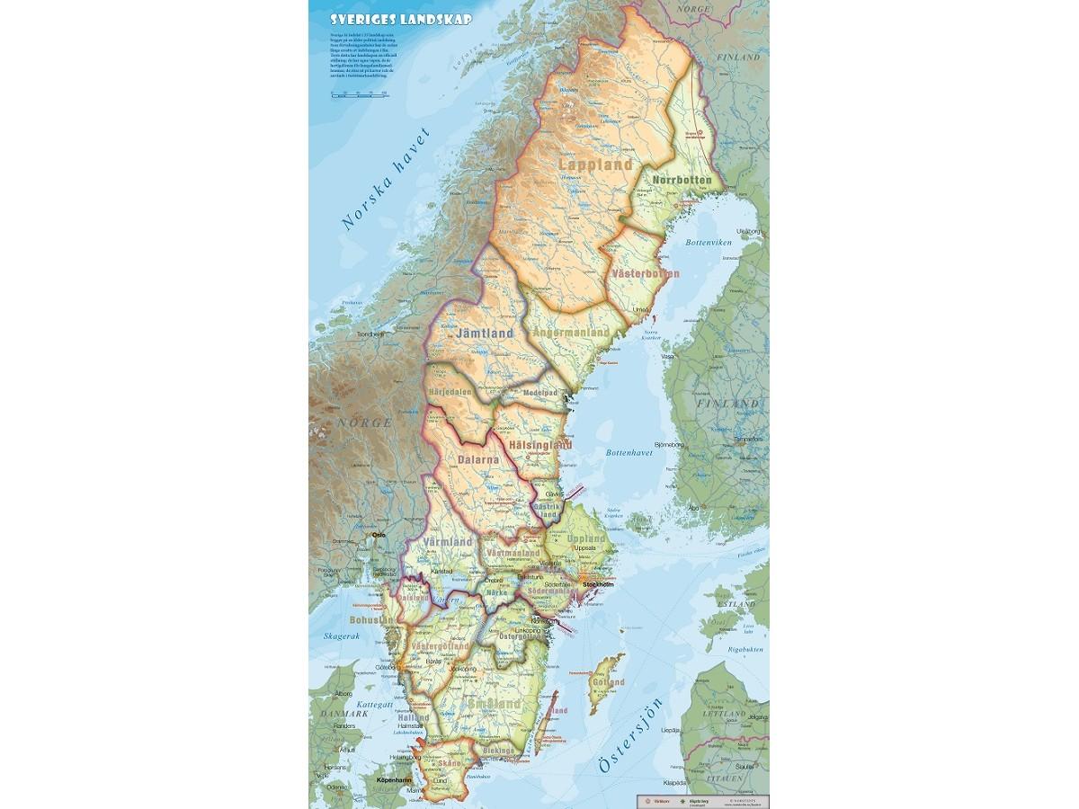 Kop Sveriges Landskap 40x70cm Med Snabb Leverans Kartbutiken Se