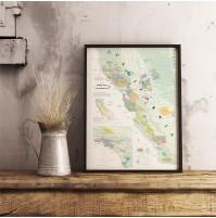 Vinkarta Kalifornien väggkarta