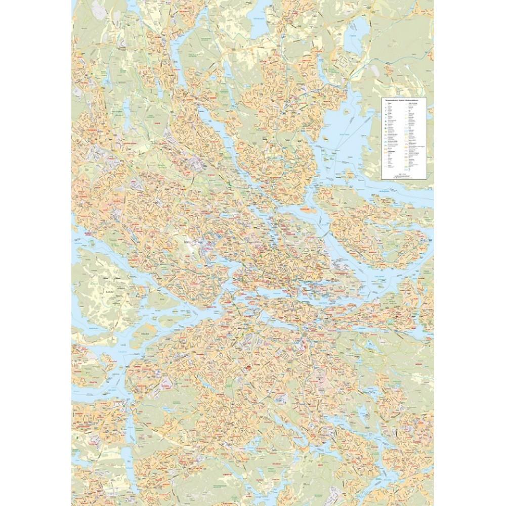 Storstockholmskartan väggkarta 1:25 000, 99x138cm med ram