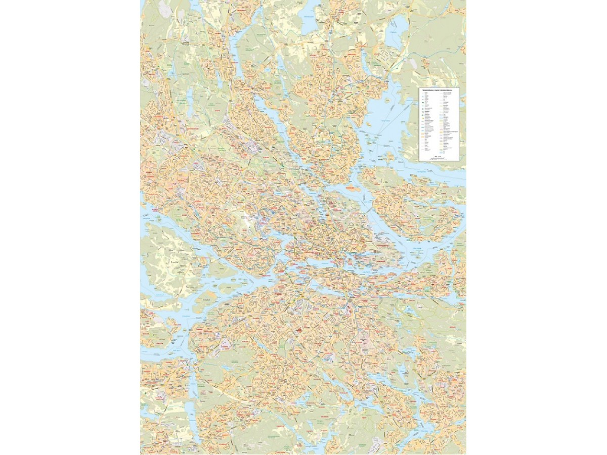 Storstockholmskartan 1:25 000, 100x139cm