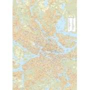 Storstockholmskartan väggkarta 1:25 000, 99x138cm