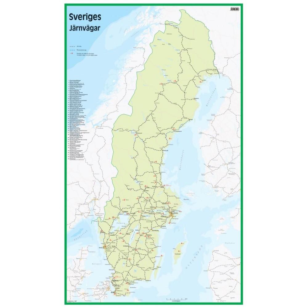 Sveriges Järnvägar 50x83cm
