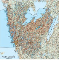 Västra Götalands län väggkarta 100 x 100 cm