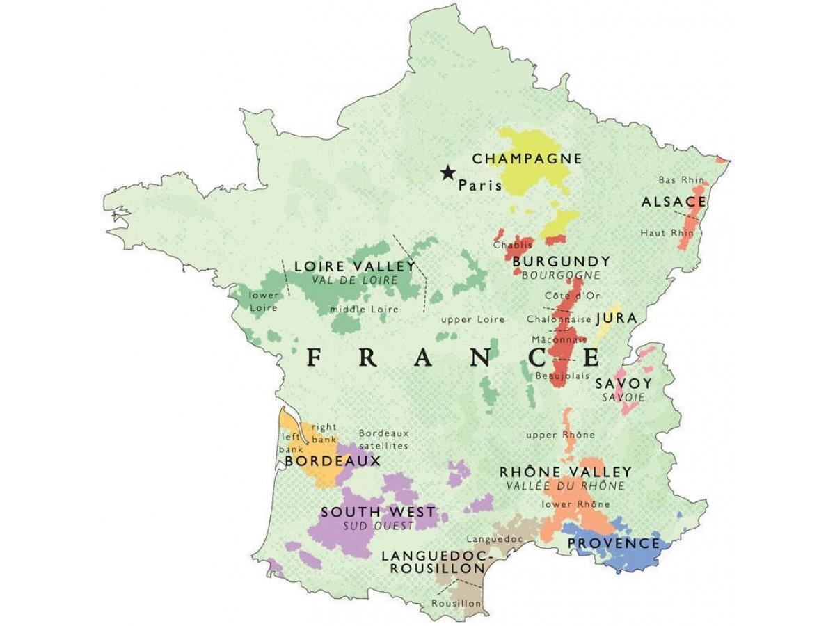 Vinkarta Frankrike väggkarta