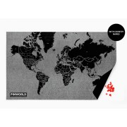 Pin World Black - Världskarta på filt med nålar 124x66cm