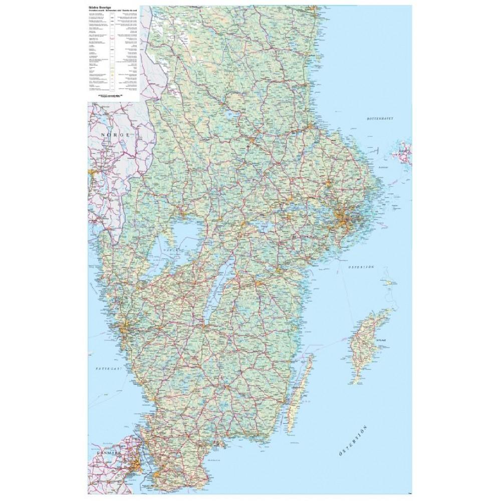Södra Sverige Norstedts väggkarta